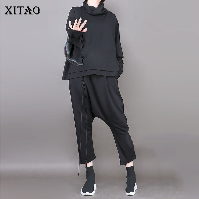 [XITAO] Europe Spring 2018 Casual Women Bandage Ankle-Length Pants Female Elastic Waist Solid Color Loose Cross-pants LJT1138