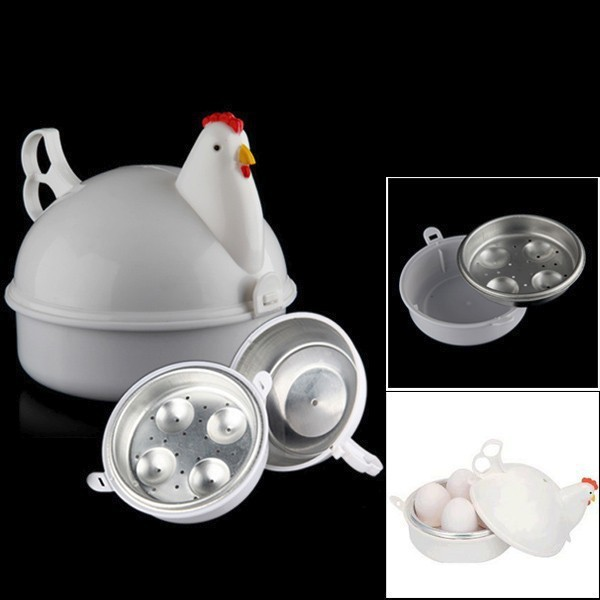 NEW Chicken Shaped Microwave 4 Eggs Boiler Cooker NOVELTY Kitchen ...
