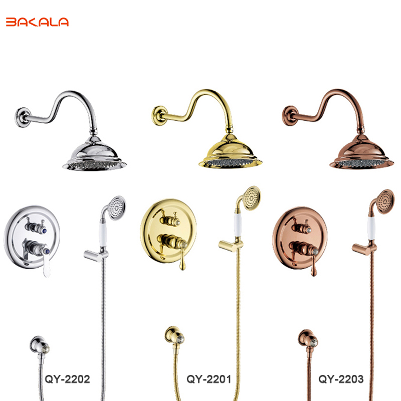 BAKALA Good Quality Chrome / Golden Finish Wall Mounted Shower Faucet for Bathroom 8 Brass Shower Head QY2201 free shipping polished chrome finish new wall mounted waterfall bathroom bathtub handheld shower tap mixer faucet yt 5333