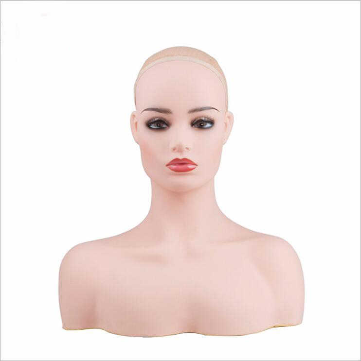 Realistic Tete Mannequin Head Bust For Hair Wig Jewelry Hat Earring Scarf Earphone Display Dummy Wig Making Tools Cabeza Maniqui