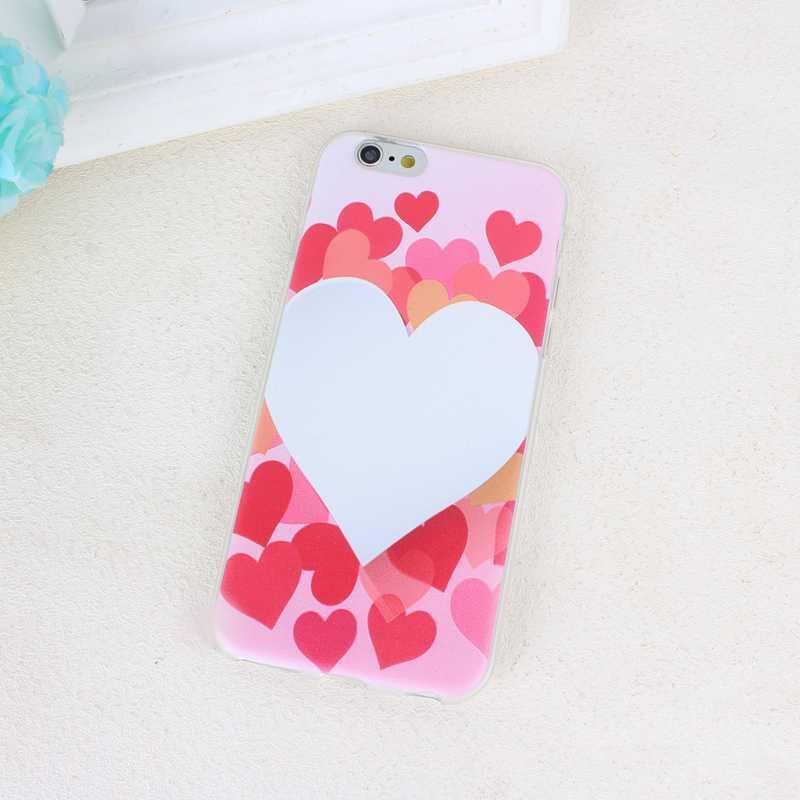 Capa de telefone para iphone 6s 7 8 plus x xs moda bonito dos desenhos animados ultra-fino bonito casal rosa amor coração claro tpu macio para iphone x