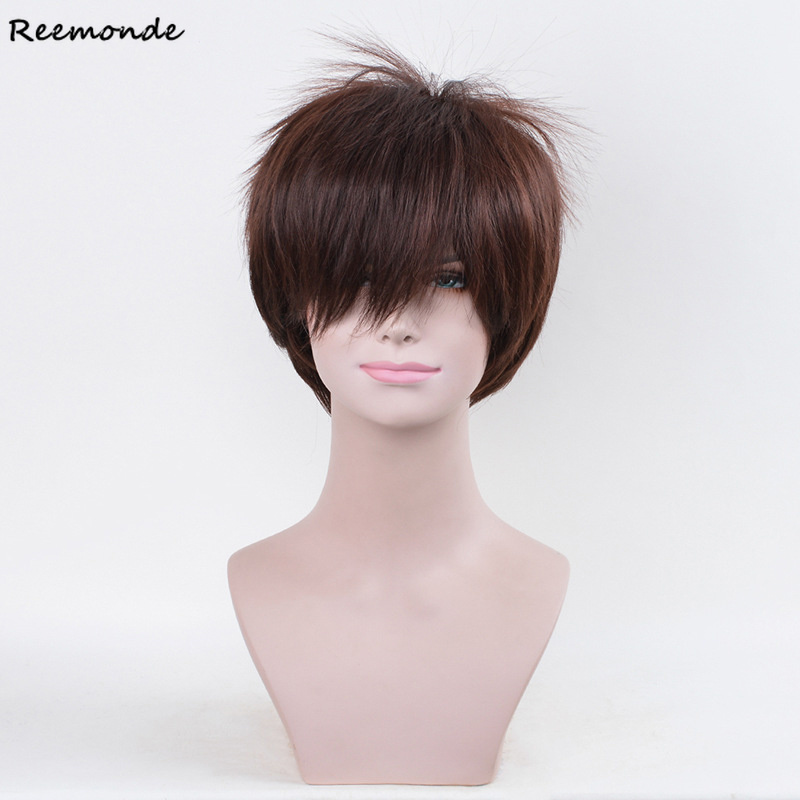 Anime Attack On Titan Cosplay Eren Jaeger Yeager Short Hair Heat Resistant Synthetic Wigs Hair Perucas For Men Boys