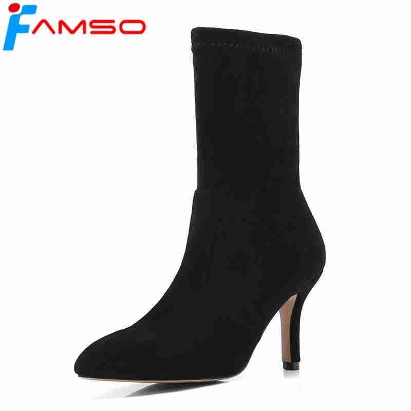 Dame À L'extérieur red Pointu Talons Noir Bottes Équitation Sexy Bout Haute Femelle Femmes black Apricot D'hiver Chaussures 2018 Abricot Famso qFp6Zwa