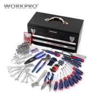 WORKPRO 229PC Metal SAE Tool Box Set Home Tools Set Household Tools Screwdrivers Sockets Wrenches