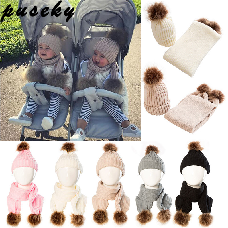 Puseky 2pcs/set Child Winter Thicken Keep Warm Acrylic Hats & Scarf Bebek Ball Faux Fur Pompom Ball Knitted Crochet Beanies Hats 35