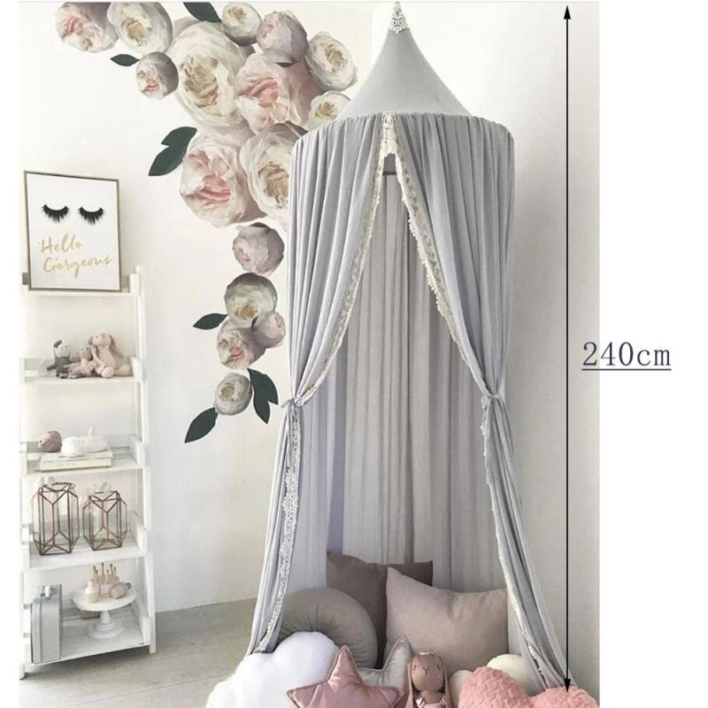 Chiffon Round Dome Hanging Mosquito Net INS Tent Nets Bed Curtain for Baby Kids Playing Home Princess Room Decor 3