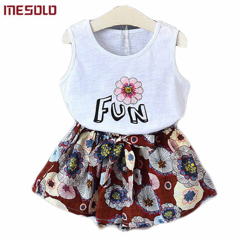 MESOLO/2018 г., новый летний товар для детей, жилет без рукавов в Корейском стиле красивые плотные шорты два костюма D5845