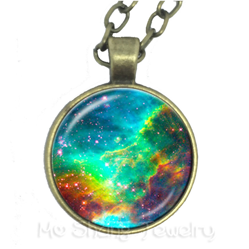 Family Decor Galaxy Uranus Pendant Necklace Cabochon Glass Vintage Bronze Chain Necklace Jewelry Handmade