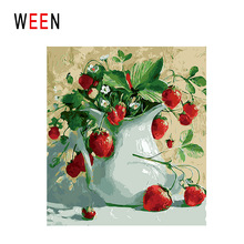 Cherry and Vase Painting By Numbers DIY Flower Digital Wall Canvas Art Picture Coloring by numbers For Home Artwork Gift