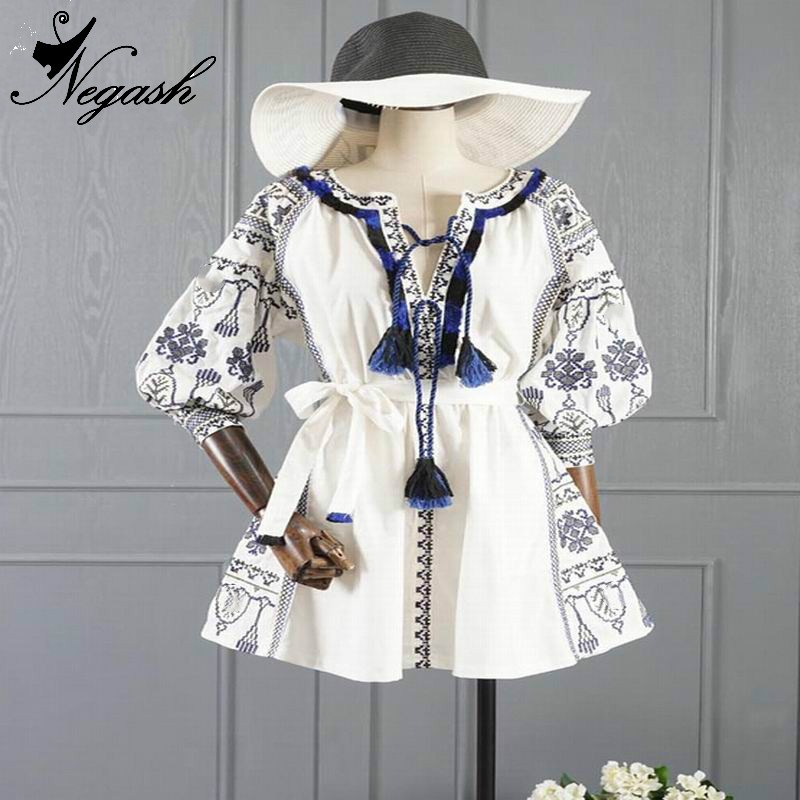 Cotone Manicotto Donne De Abiti Boemia Renda Coreano Vestito Printloose Della Vestidos Femininos Dal Lanterna Vintage Bianco Del P86q4T