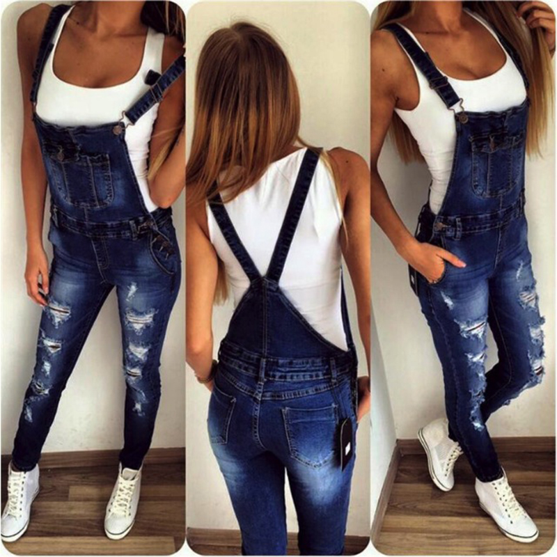 2018 stylish overall Jeans Women Basic Classic High Waist Skinny Pencil Blue Denim Pants ripped hole Jeans student girlfriend