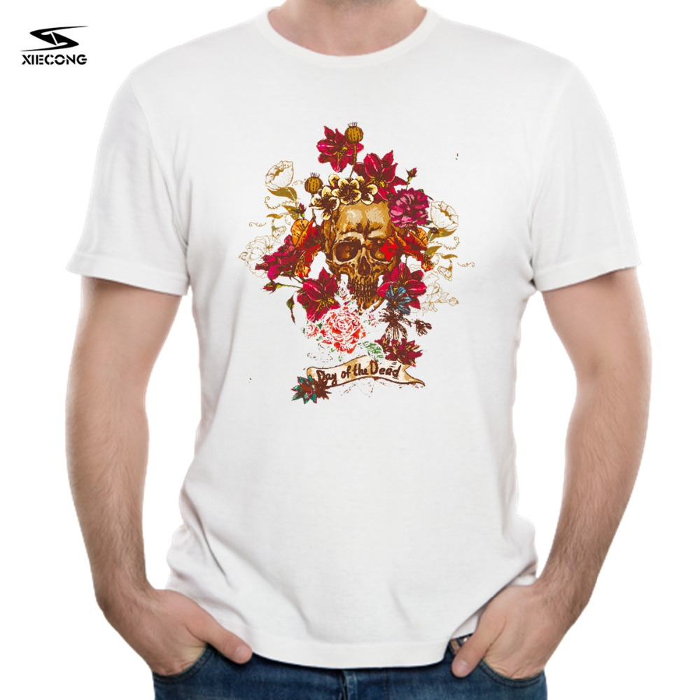 day of the deed Floral Print Cotton T-shirt comfortable summer mens fashion round collar short sleeved 3DT shirt HQ-TT-123