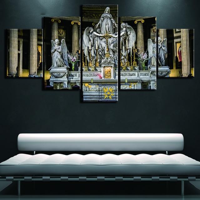 HD Printed Modern Painting On Canvas 5 Panel Jesus Christian Church ...