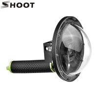 ATEŞ 6 inç Dalış GoPro Hero 4 3 + için Dome Siyah Gümüş kamera için Su Geçirmez Kılıf Dome Portu Ile Git Pro Hero 4 Cam aksesuar