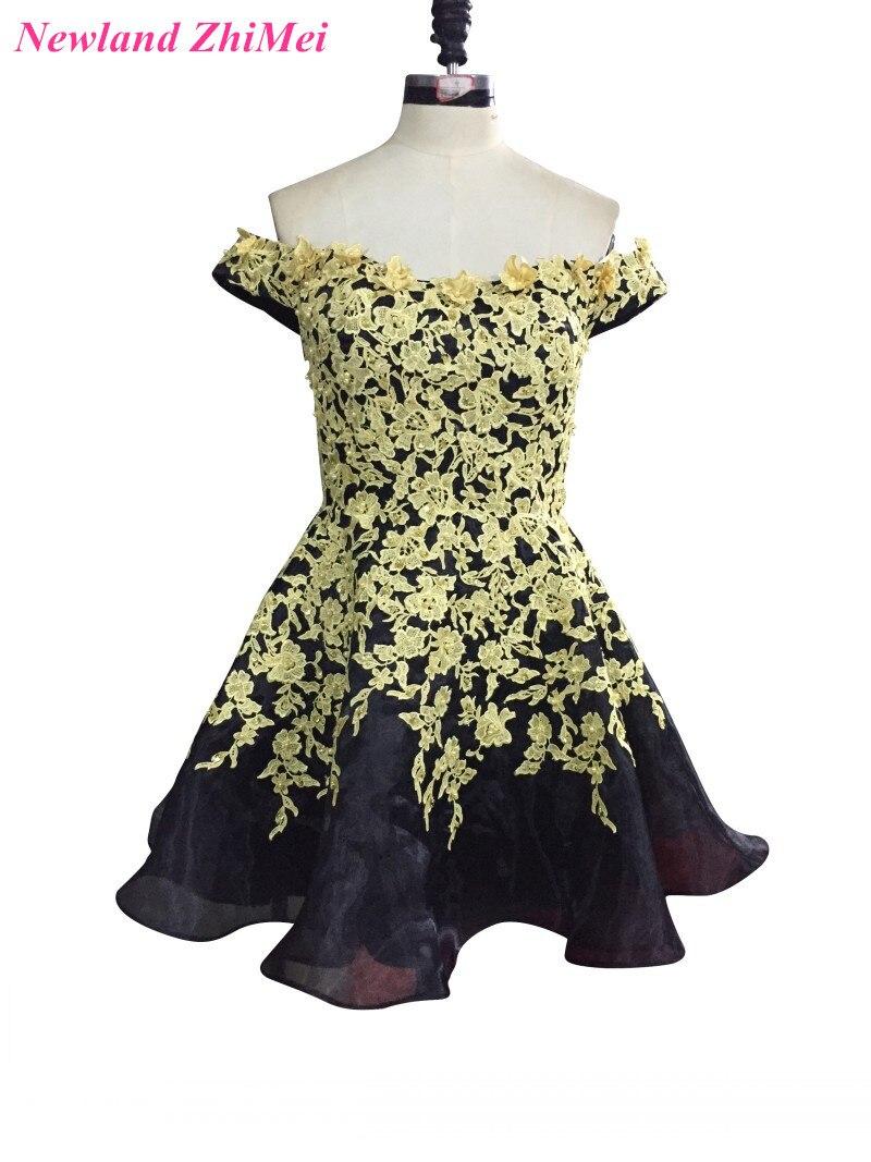 Belle robe de Cocktail courte 2017 or Applique noir Organza fête robes formelles robe cocktail courte chic