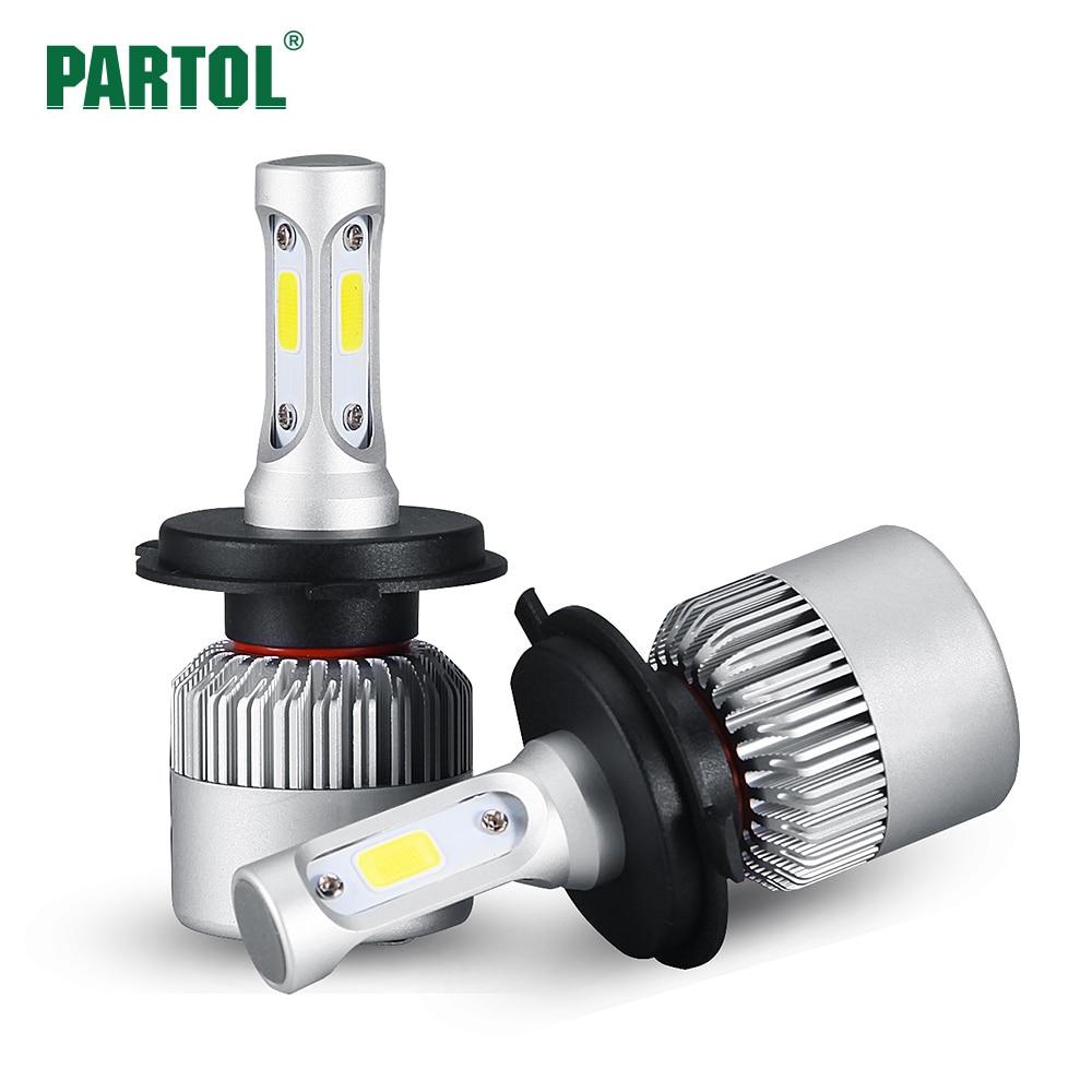Partol S2 H4 H7 H11 H1 9005 9006 H3 9012 Auto LED Scheinwerferlampen 72 Watt 8000LM COB Automible Scheinwerfer Nebelscheinwerfer 6500 Karat 12 V 24 V