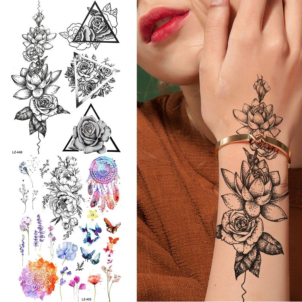 Cadenas negras goldoceas triángulo Foream flor tatuaje pegatinas mujeres falso impermeable tatuajes cuerpo temporal brazo arte personalizado