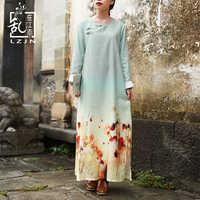 LZJN Floral Print Dress Women Autumn 2019 Chinese Style Long Sleeve Elegant Maxi Shirt Dress Vintage Robe Femme Casual Vestidos