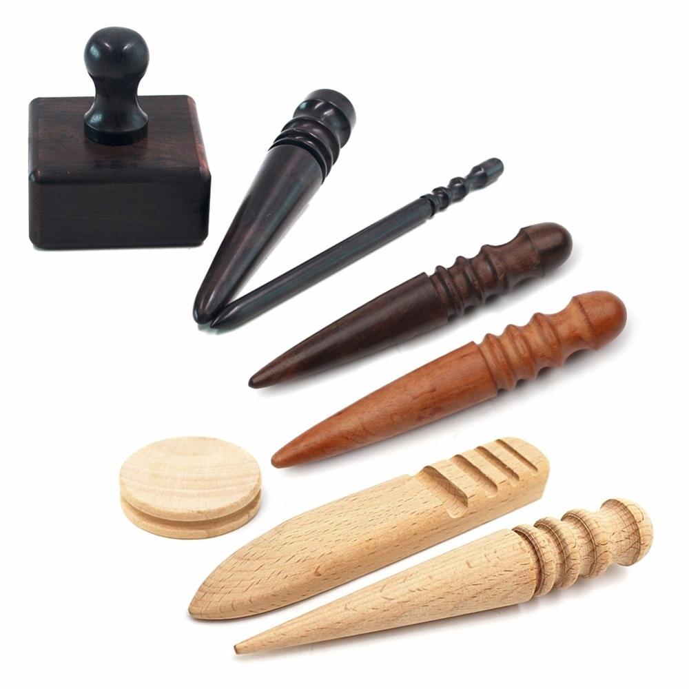 Wood Round Flat Block Edge Slicker Burnisher Trimming KIT Leather Craft DIY Tool