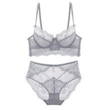 2018 nieuwe zomer stijl full lace bloemen ultradunne vrouwen sexy lingerie transparant push up ondergoed slipje 4 breasted bh sets