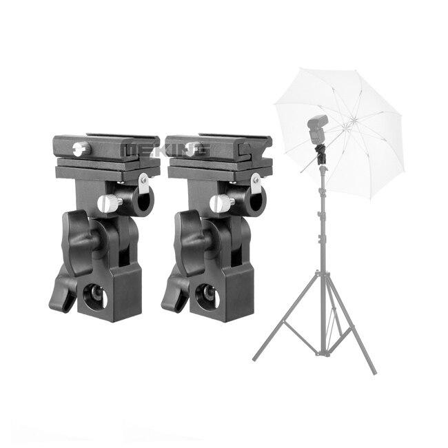 2pcs Meking Flash Hotshoe Adapter Bracket B Umbrella Mount Holder Swivel for Light Stand Speedlite