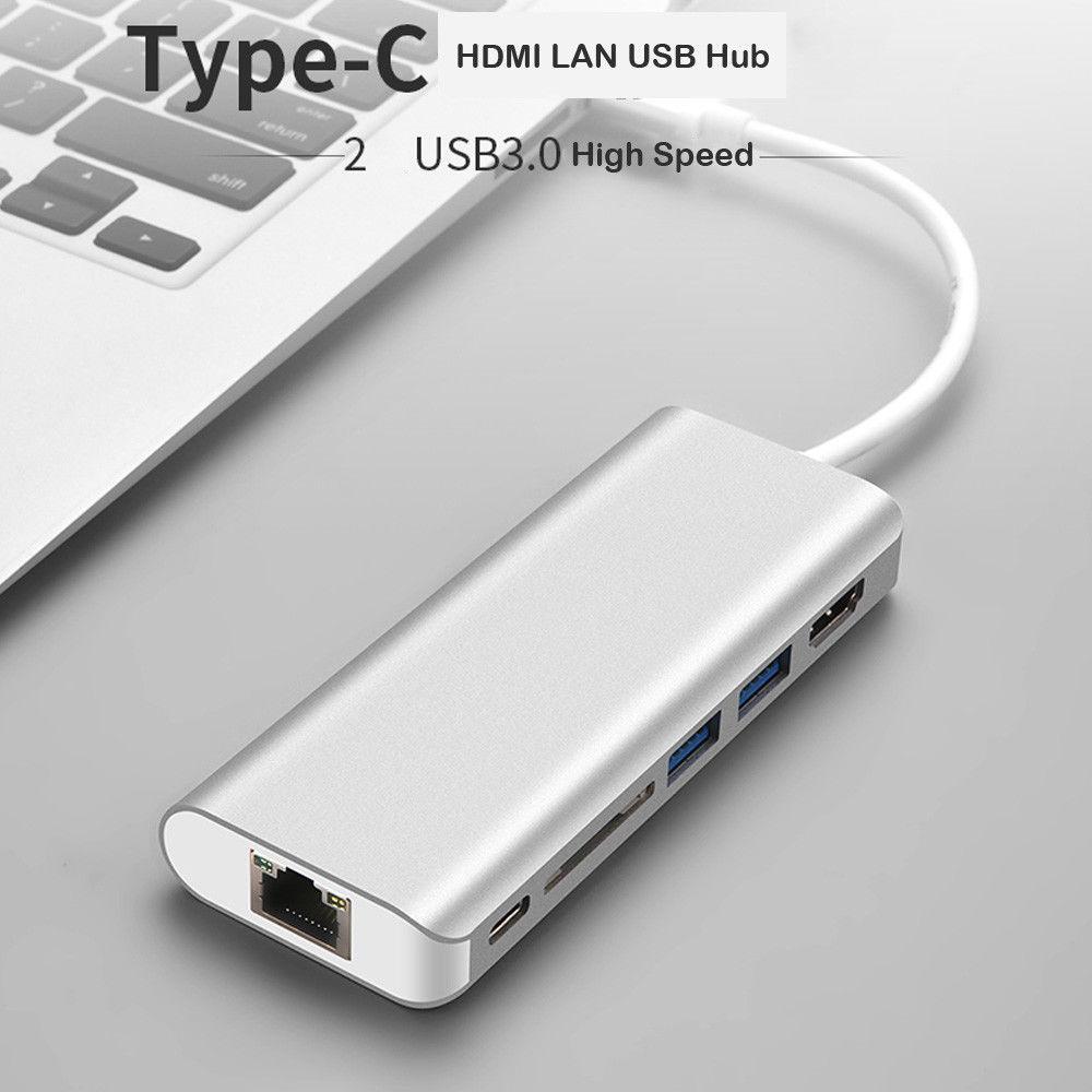Basix 6 en 1 USB type C 4 K vidéo HDMI/RJ45 USB Hub 3.0 lecteur de carte adaptateur Port de chargement moyeux USB C Hub pour MacBook Pro Air