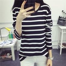 Tee Shirts Woman 2019 Autumn Korean Harajuku Striped T-shirt  Women Loose Casual Tops Female Long Sleeve O-Neck Basic T Shirt