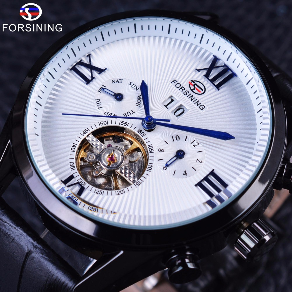 Forsining Classic Tourbillion Roman Number White Dial Calendar Genuine Leather Mens Watch Top Brand Luxury Automatic Watch Clock ultra luxury 2 3 5 modes german motor watch winder white color wooden black pu leater inside automatic watch winder