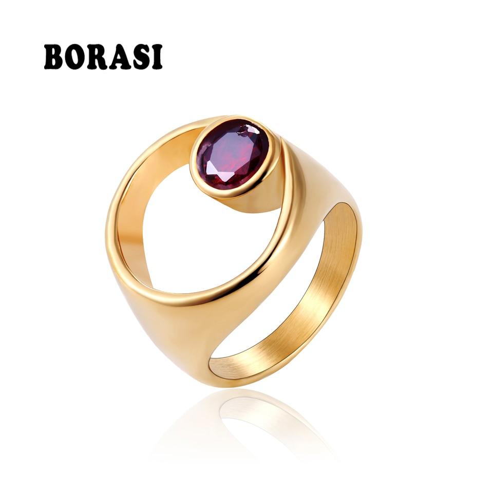 Motiviert Borasi 2018 Neue Marke Unregelmäßigen Runde Stein Finger Ringe Edelstahl Trendy Schmuck Gold Farbe Ring Für Frauen Jahrestag Verlobungsringe Schmuck & Zubehör
