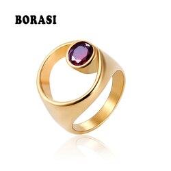 BORASI-anneaux de doigt en pierre ronde irrégulière en acier inoxydable, bijou à la mode, couleur or, bague d'anniversaire pour femmes, nouvelle marque