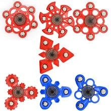 7รูปแบบความคิดสร้างสรรค์พลาสติกสีแดงสีฟ้าTri-s Pinnerอยู่ไม่สุขของเล่นเกียร์มือปั่นสำหรับออทิสติกและสมาธิสั้นความเครียดบรรเทาผู้ใหญ่/เด็กของเล่น