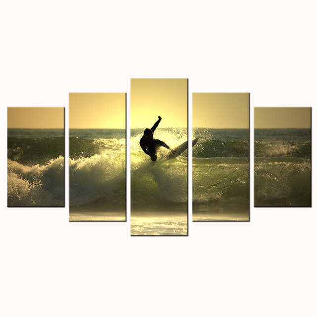 5 Panel Modern Painting HD Picture Sea Surf Prints On Canvas ...