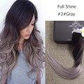 Brillo completo Balayage Remy Brasileño Ombre Color de 2 Cambiando a Gris Extensiones de cabello Cinta 20 Unids/pack Cinta en el Cabello Humano extensiones