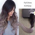 Full Shine Balayage Ombre Color 2 Fading to Grey Brazilian Remy Hair Tape Extensions 20 Pcs / Pack Tape in Human Hair Extensions