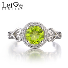 Leige Jewelry 925 Sterling Silver Natural Peridot Ring Round Cut Gemstone August Birthstone Promise Engagement Rings for Women