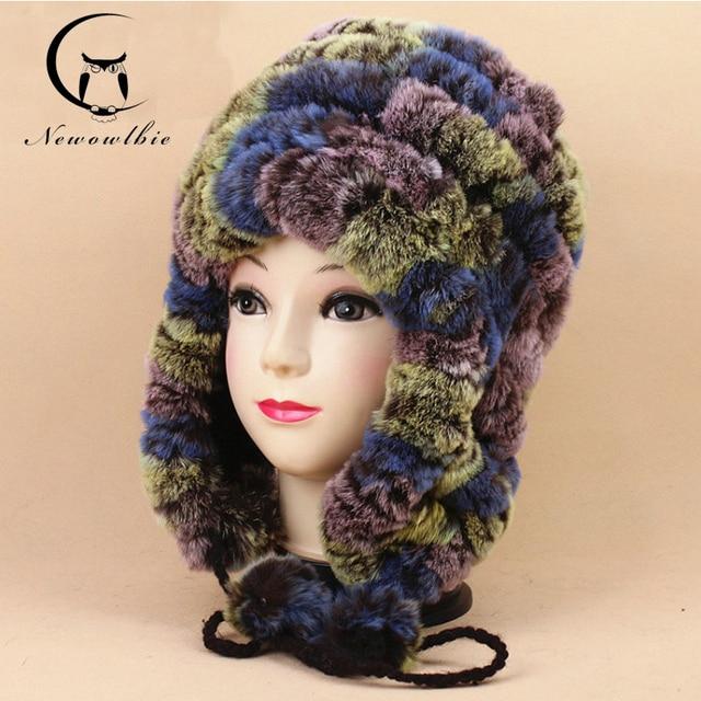 De punto 2016 Dama de La Moda de Las Mujeres Sombreros de Invierno Con Conejo Rex Real piel multicolor del oído cap sombreros de piel de las mujeres mantener el calor de alta calidad