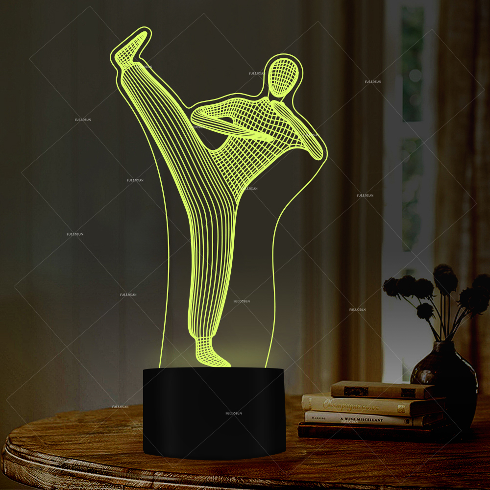 Lights & Lighting Professional Sale 3d Chinese Kung Fu Illusion Night Light 7 Colors For Kids Room Desk Lamp With Usb Port As Creative Gifts And Decor