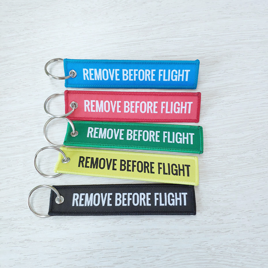 Remove Before Flight Key Chains Trendy Keyring Embroidery Polyester Fabric Key Protector Commemorative Keychain Buckle SP0978 trendy movie silent night jack skull keyring
