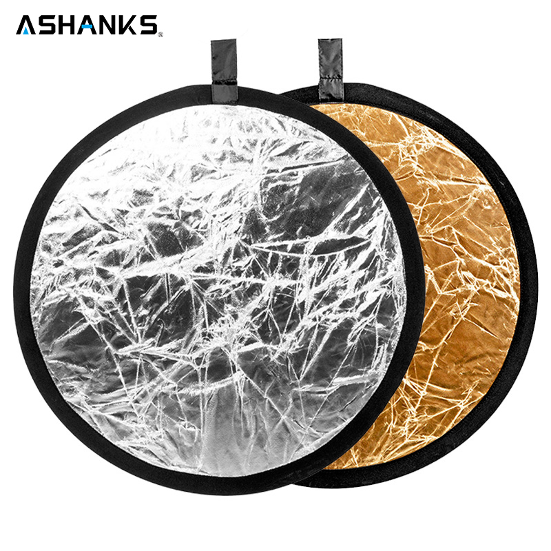 23 60cm 2 in 1 Round Flash Studio Collapsible Reflector Disc Silver Gold Reflector Photography Light Reflective for Photo Video цена