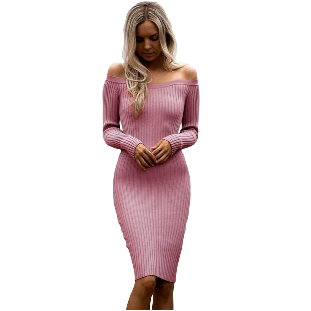 Hot Women's Autumn Winter Sexy Sweater Dresses Lady Off Shoulder Long Sleeve Rib Knitted Dress (One Size)