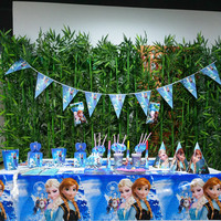 132pcs/set Frozen Freezing Anna Flags Tablecloth Straws Cups Plates Fork Party Supplies Kid Birthday Decoration Favors