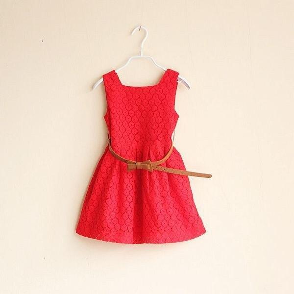 2017 летнее новое кружевное платье для девочек с зашнурованным поясом платье для принцессы 2-8 лет детская одежда для праздников красное белое платье с поясом в подарок