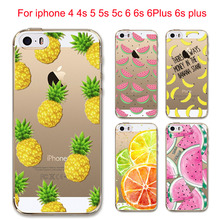 Hot Fruit Pineapple Lemon Banana Soft Silicon Transparent Case Cover For Apple iPhone 6 6S 5