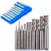 10pcs Set HSS Aluminum 4 Flute End Mill CNC Tools Milling Drill Bits Cutter For Power