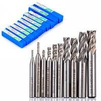 10pcs/set 2-10mm End Mill Set HSS 4 Blades Flute Milling Cutter Router Bit CNC Mill Drill Bit For Power Tools