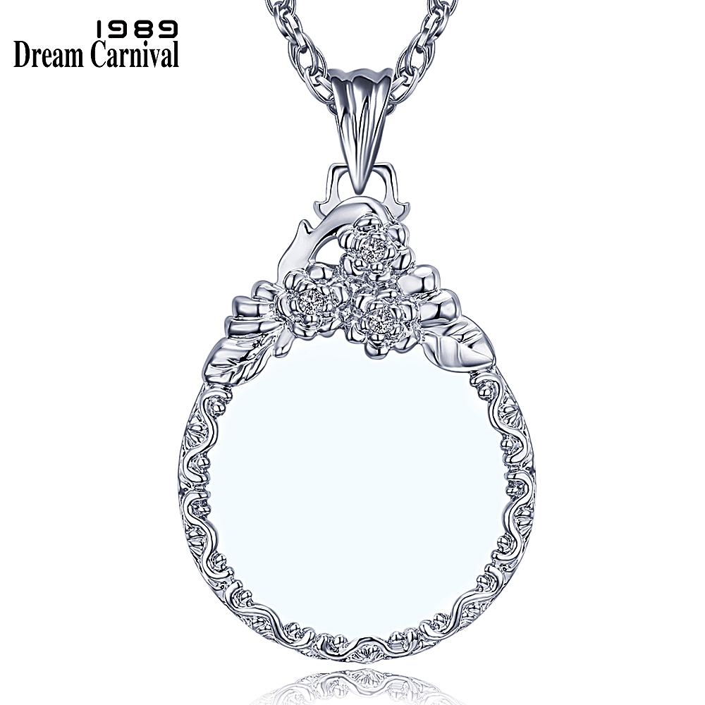 DC1989 New Arrive Women Crystals Neckalce 2x Magnifying Glass Pendant Fashion Beautiful Look 18K Gold Platinum Plated Convenient