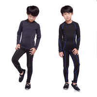 Children rashgard kit Football training thermal underwear base layer Quick-drying pants sport shirt kids