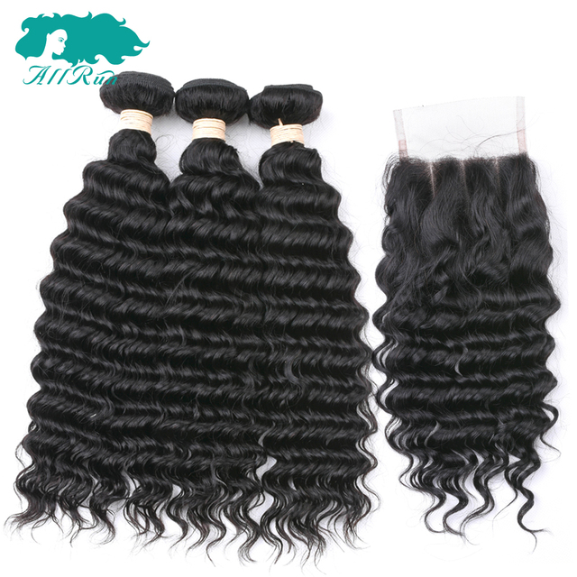 AllRun Brazilian Hair Deep Wave With Closure 100% Human Hair Weave Bundles With Closure 3 Bundles Remy Hair With Lace Closure