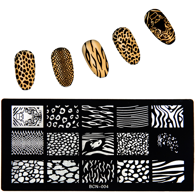 صفحات مهر و موم ناخن سری 1 * قطعه 6 * 12 سانتی متر BCN تصویر استنسیل ناخن برای قالب های مانیکور تمبرهای ناخن ابزارها