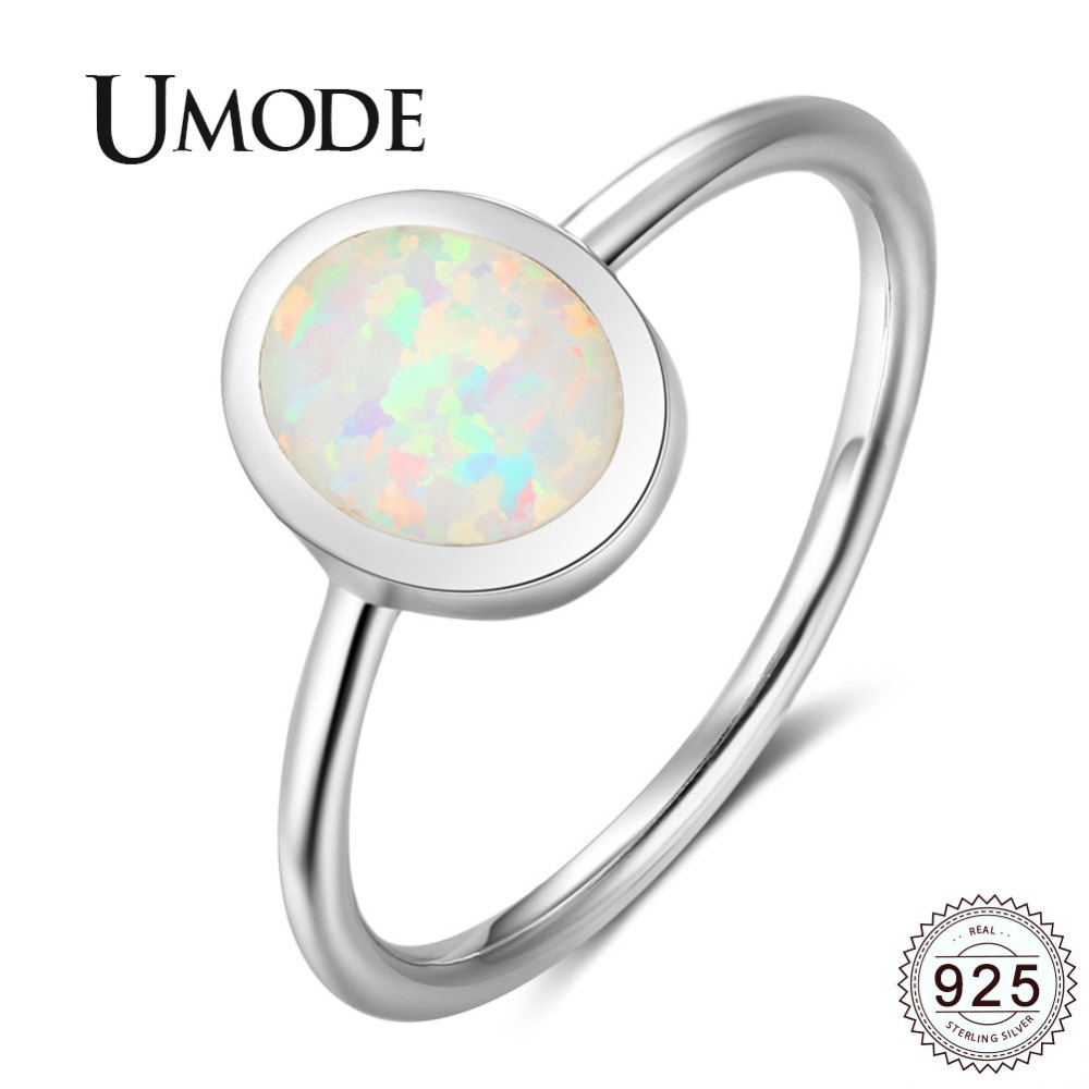 UMODE White Oval Natural Fire Opal 925 Sterling Silver Rings Wedding Ring For Women Romantic Fine Jewelry Joyas De Plata ULR0708